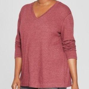 Ava & Viv Plus Size Textured Long Sleeve Pullover